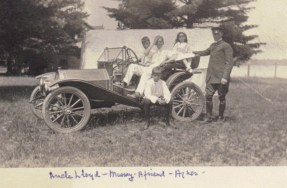 "3 x 2"" Uncle Lloyd Murray a friend Agnes – one of the early Hupmobiles"